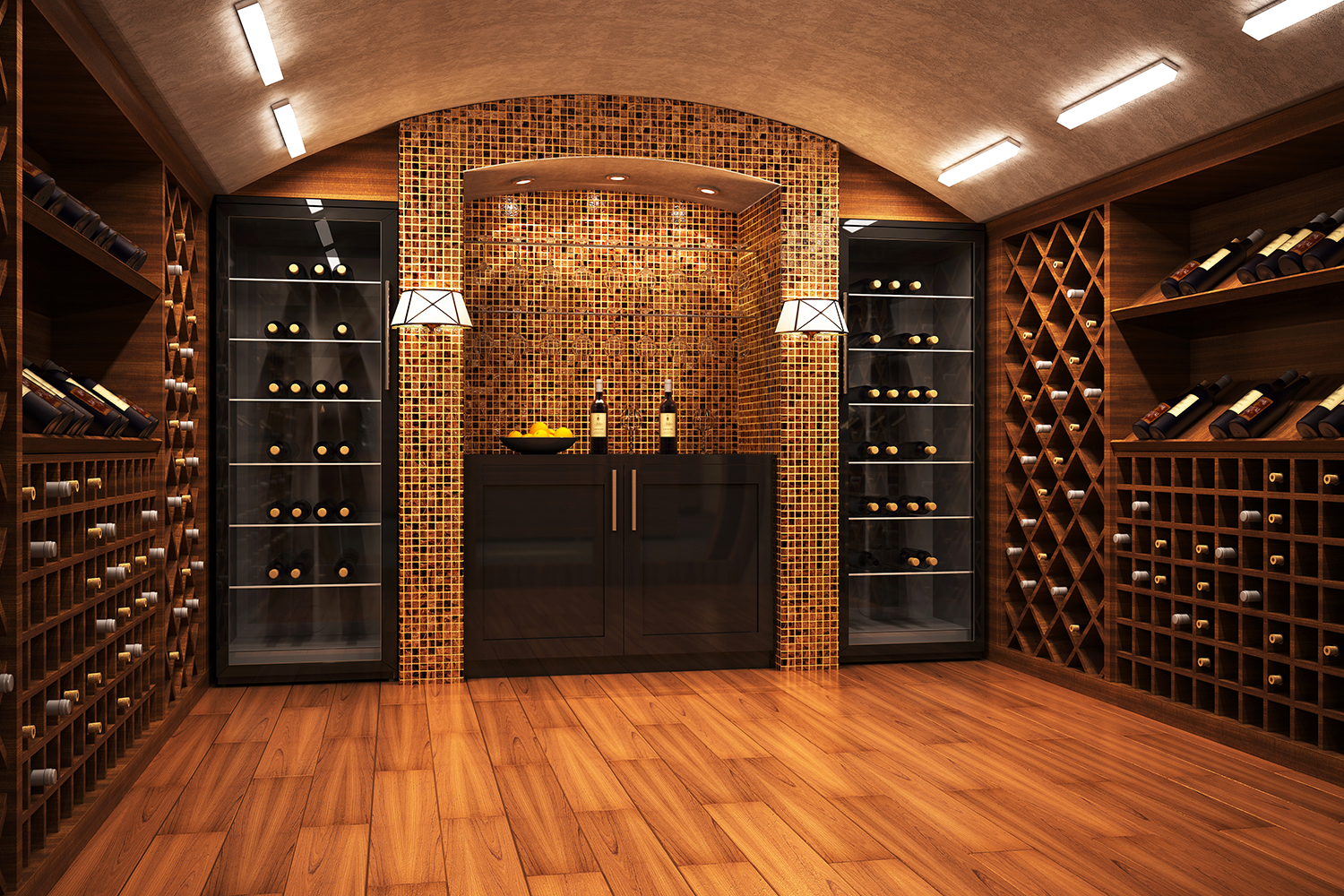 interior of a wine cellar for storing and aging of wine